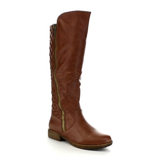 Beston Bb21 Women's Quilted Knee High Riding Boots