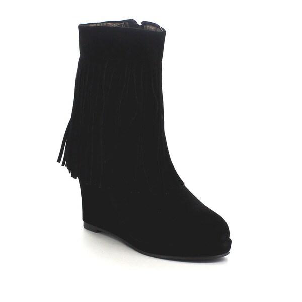 Beston Few32 Women's Chic Wedge Fringe Ankle Booties