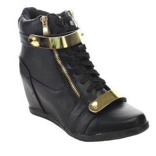 FOREVER GLADYS-22 Women's Chic Lace-up Hidden Wedge Sneakers