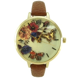 Women's Butterfly Floral Dial Watch Roman Numerals Thin Faux Leather Band