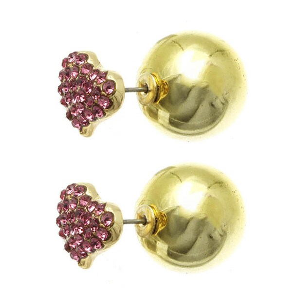 Double Sided Reversible Pink Crystal Heart Pierce Earrings Gold Ball Stud