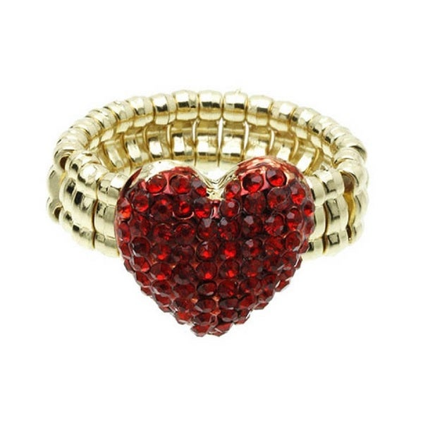 Red Crystal Heart Gold Stretch Band Riing