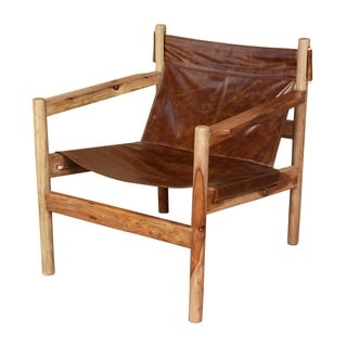 Porter Genoa Solid Sheesham and Leather Sling Chair (India)