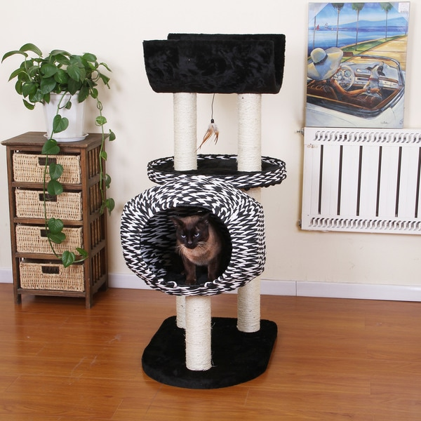PetPals Spade Contemporary Luxury Cat Condo with Curved Napping Perch