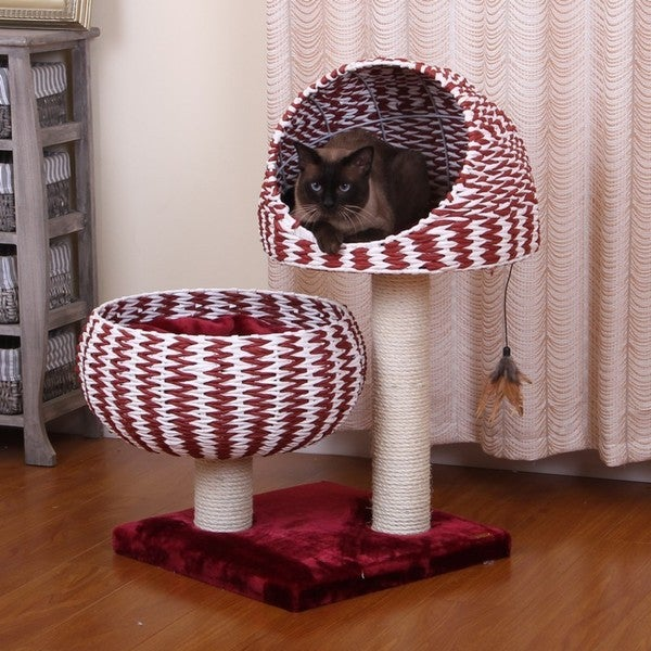 PetPals Blaze Paper Rope Half Dome Perch with Bowl Lounger