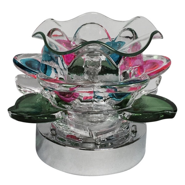 Lily Pad Electric Glass Lamp Oil Warmer Lamp with LED Flashing Light