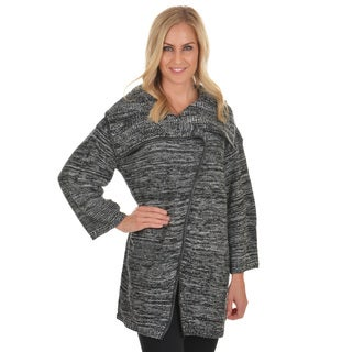 Journee Collection Women's Long Sleeve Faux Leather Trim Cardigan