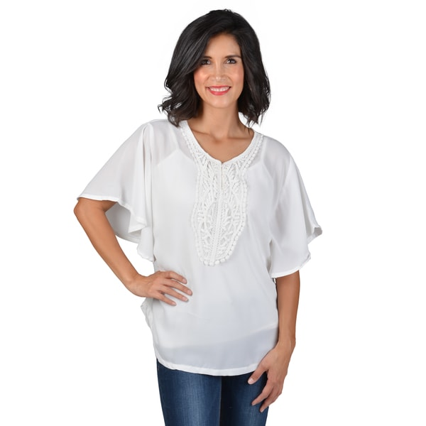 Journee Collection Women's Butterfly Sleeve Crochet Front Top