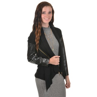 Journee Collection Women's Faux Leather Sleeve Knit Cardigan