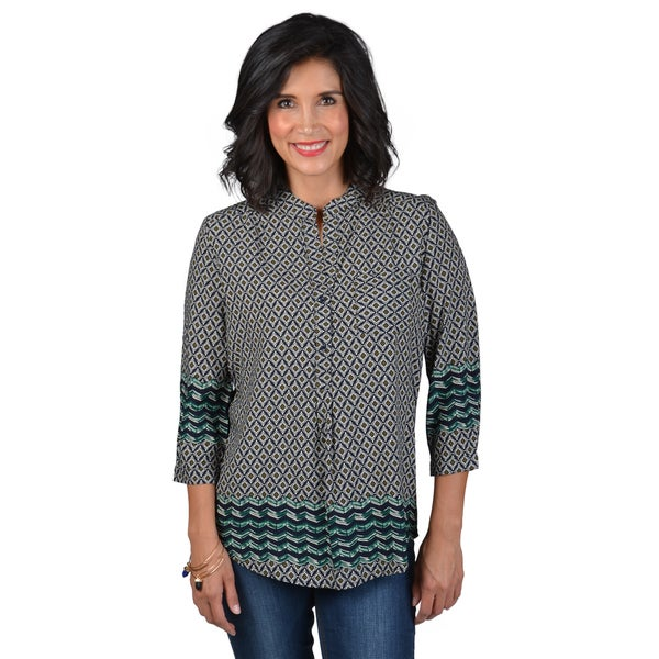 Journee Collection Women's Notch Collar Printed Tunic