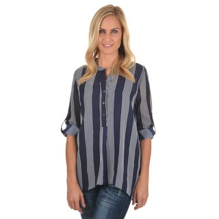 Journee Collection Women's Striped Rolled Sleeve Blouse