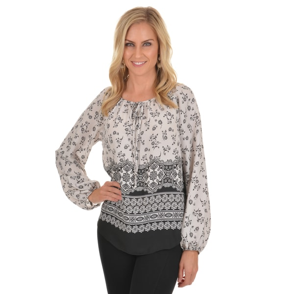 Journee Collection Women's Printed Long Sleeve Blouse
