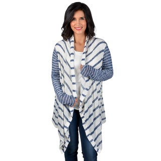 Journee Collection Women's Knit Striped Waterfall Cardigan