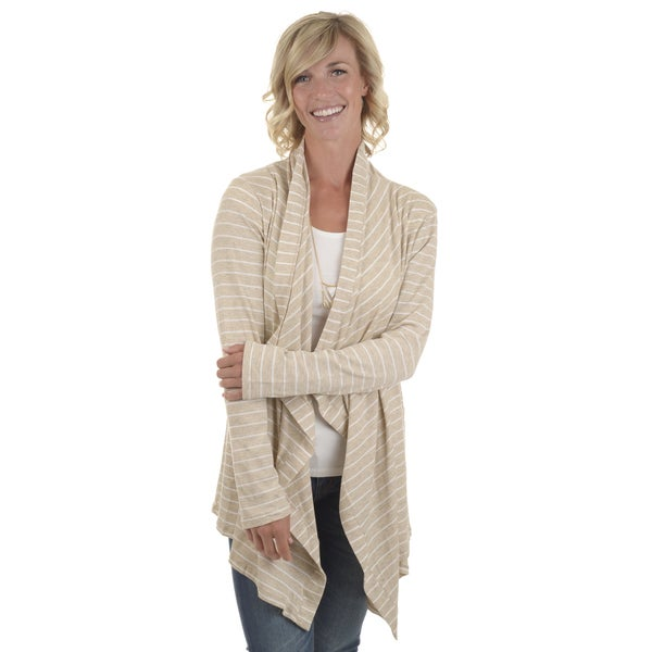 Journee Collection Women's Striped Ribbed Cardigan