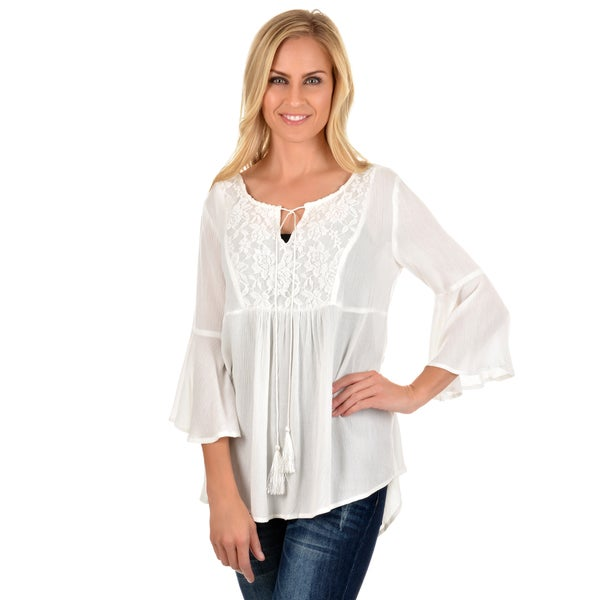 Journee Collection Women's Bell Sleeve Lace Tunic