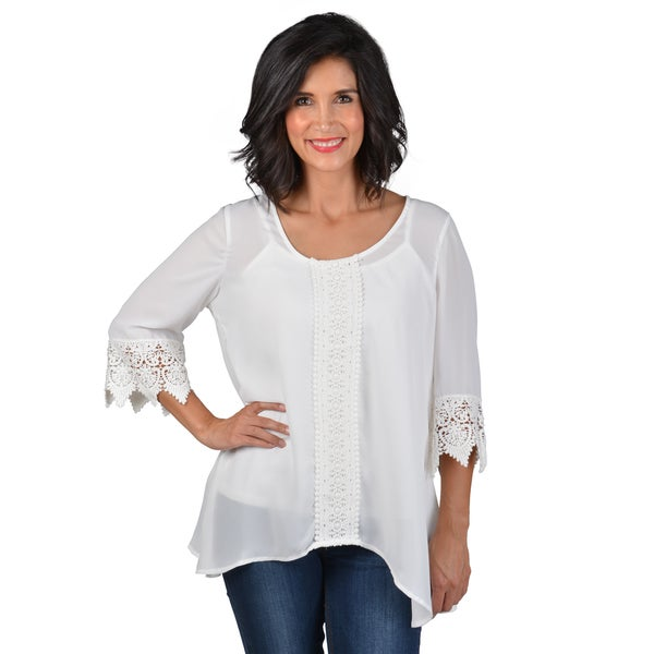 Journee Collection Women's Split Back Crochet Blouse