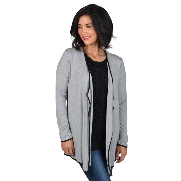 Journee Collection Women's Knit Contrast Trim Cardigan