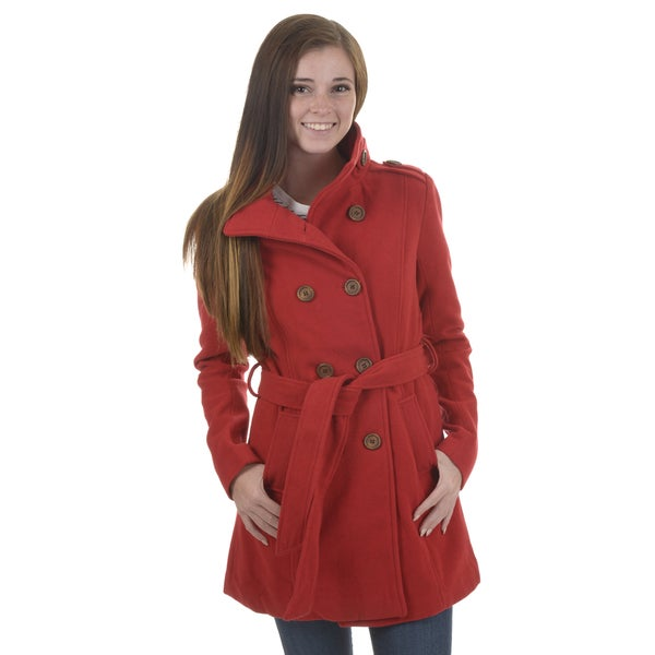 Journee Collection Junior's Double Breasted Wool Blend Coat
