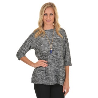 Journee Collection Women's Marled Round Neck Sweater