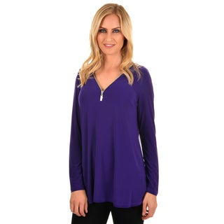 Journee Collection Women's Long Sleeve Zippered Tunic