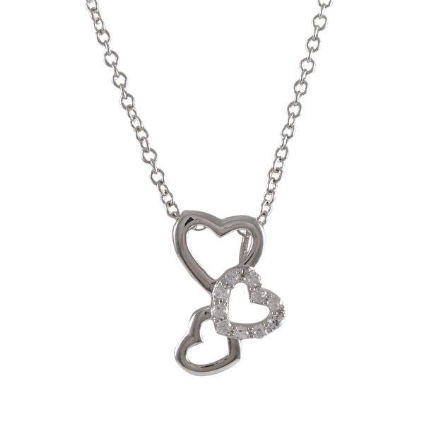 Sterling Silver Pave Cubic Zirconia Bubble Heart Pendant Necklace