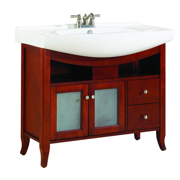 Largo 39-inch Freestanding Single Euro Bowl Bathroom Vanity with Vitreous China Top, Cherry
