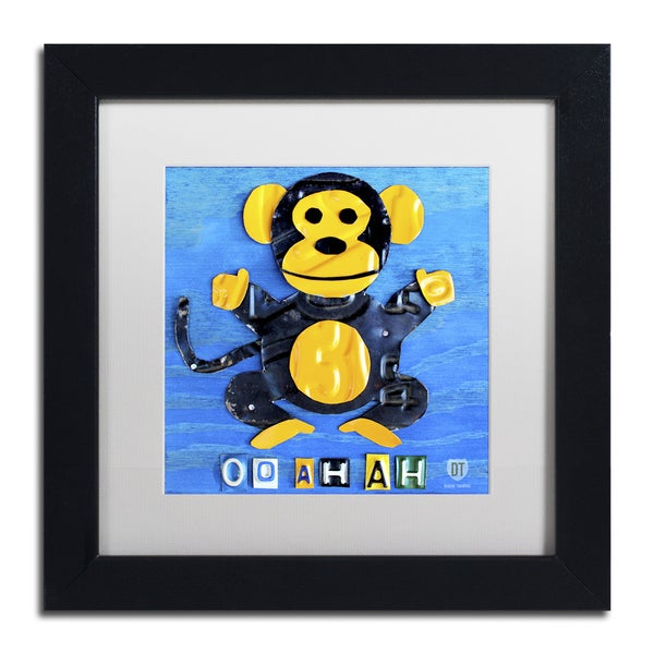 Design Turnpike 'Oo Ah Ah the Monkey' White Matte, Black Framed Canvas Wall Art