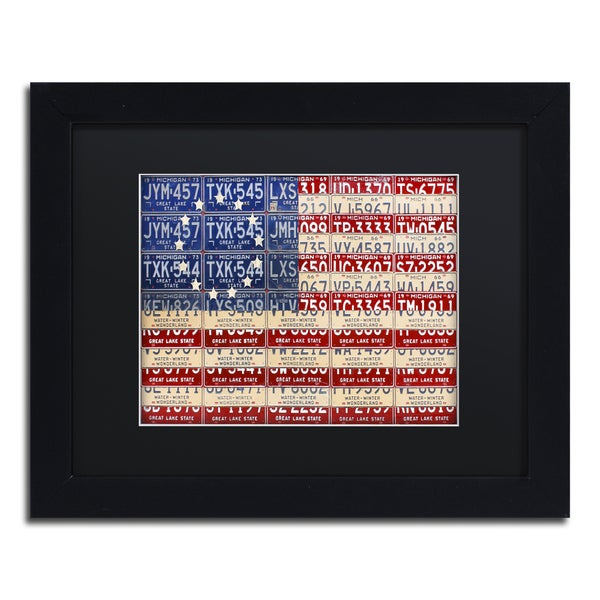 Design Turnpike 'Betsy Ross Flag' Black Matte, Black Framed Canvas Wall Art