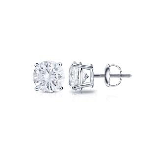 Auriya Platinum 1/3ct TDW 4-Prong Screw-Back Round Diamond Stud Earrings (H-I,SI2-SI3)