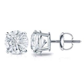 Auriya Platinum 1ct TDW 4-Prong Screw-Back Round Diamond Stud Earrings (H-I,SI2-SI3)
