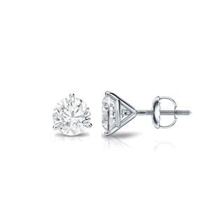 Auriya Platinum 1/4ct TDW 3-Prong Screw-Back Round Diamond Stud Earrings (H-I,SI2-SI3)