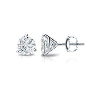 Auriya Platinum 1/3ct TDW 3-Prong Screw-Back Round Diamond Stud Earrings (H-I,SI2-SI3)