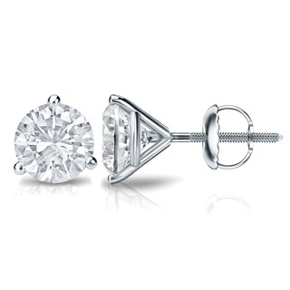 Auriya Platinum 3/5ct TDW 3-Prong Screw-Back Round Diamond Stud Earrings (H-I,SI2-SI3)