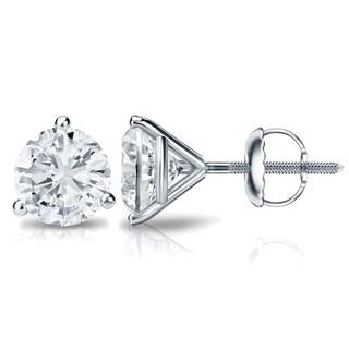 Auriya Platinum 1ct TDW 3-Prong Screw-Back Round Diamond Stud Earrings (H-I,SI2-SI3)
