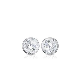 Auriya 14k Gold 1/4ct TDW Bezel Screw-Back Round Diamond Stud Earrings (H-I,SI2-SI3)