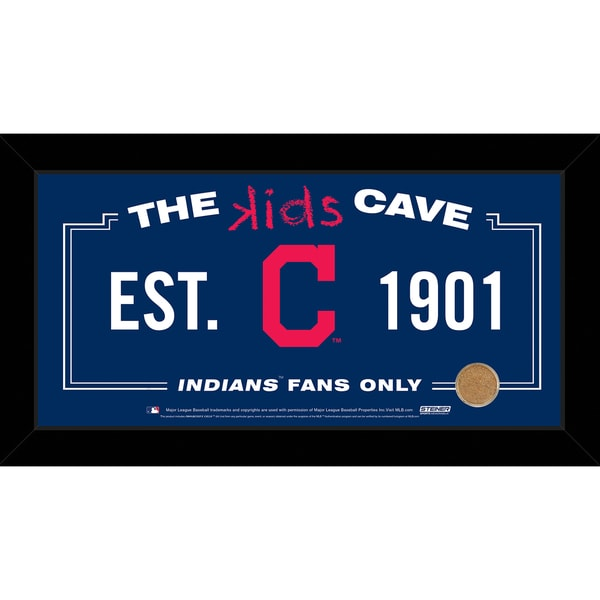 """Steiner Sports Cleveland Indians 10"""" x 20"""" Kids Cave Sign with Authentic Field Dirt, Idn Team 16816925"""