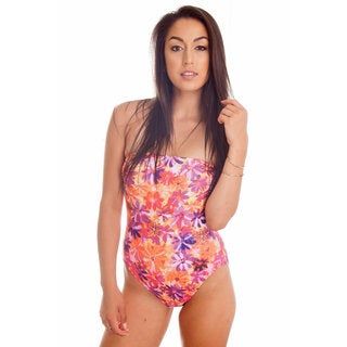 Dippin Daisy's Pink Flower Strapless One Piece Missy Bathing Suit