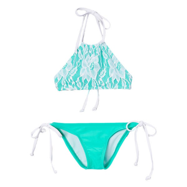Dippin Daisy's Girls' White/ Mint Lace Overlay Hi-Neck Bikini