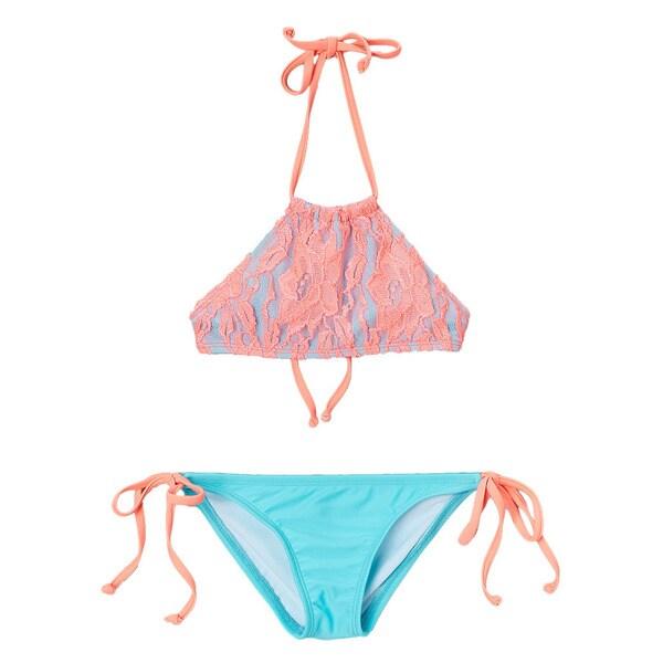 Dippin Daisy's Girls' Coral/ Blue Lace Overlay Hi-Neck Bikini