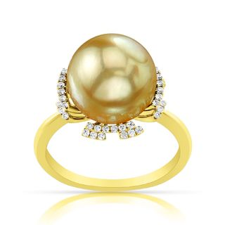 Radiance Pearl 14k Yellow Gold Golden South Sea Pearl and Diamond Ring (G-H, SI1-SI2)