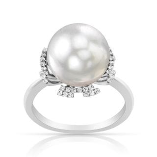 Radiance Pearl 14k Gold White South Sea Pearl and 1/6ct TDW Diamond Ring (G-H, SI1-SI2)