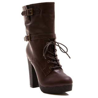 Gomax Women's Shoe Selma 05 Ankle High Lace Up Platform Boot