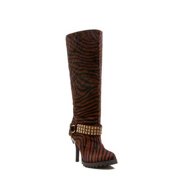 Envy Women's Shoe Crackalackin Animal Print Platform Genuine Leather Mid Calf Boot