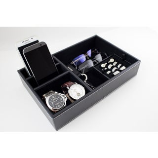 Caddy Bay Collection Black Desktop Dresser Valet Tray Case Holds Watches, Rings, Jewelry, Keys, Cell Phones and Accessories