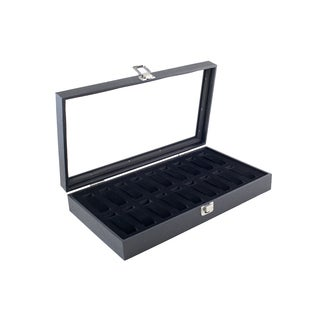 Caddy Bay Collection Black Watch Case Display Box with Glass Top Lid Holds 18 Watches
