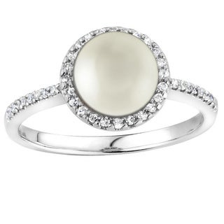 14k Gold Pearl and 1/6ct TDW Diamond Halo Ring Size 6.5 (G-H, SI2-I1)