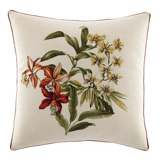 Tommy Bahama Daintree Tropic 18-inch Embroidered Flower Pillow