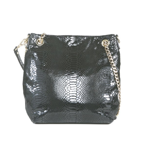 MICHAEL Michael Kors Black Jet Set Medium Chain Patent Leather Shoulder Tote
