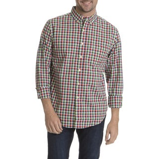 Reed Edward Men's Navy Plaid Long Sleeve Collared Shirt