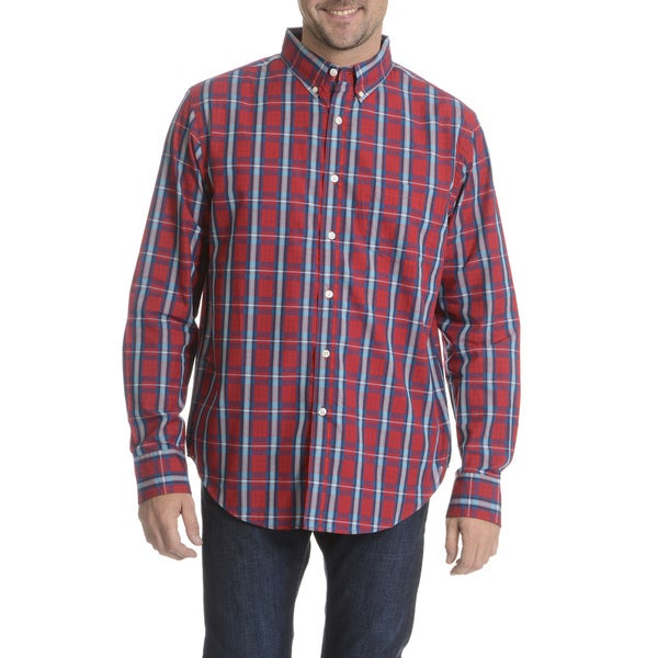 Narragansett Traders Men's Red/ Blue Plaid Long Sleeve Collared Shirt